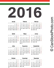 Hungarian 2016 year vector calendar - Simple Hungarian 2016...