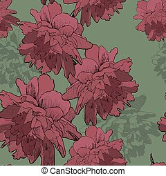 Seamless wallpaper with blooming peonies, hand-drawing....