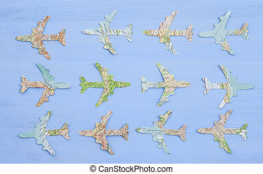 Paper planes on blue - Paper plane made from vintage maps on...