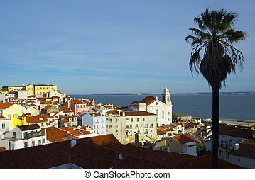 Alfama downtown and Santo Estevao Church in Lisbon, Portugal...