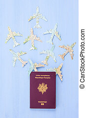 Passport with paper planes - French passport with Paper...