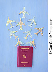 Passport with paper planes - German passport with Paper...