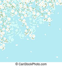 tree branches frame - Spring background with blooming tree...