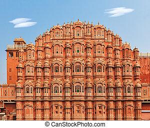 Hawa Mahal, Palace of the Winds in India - Facade of Hawa...