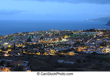 Puerto de la Cruz at dusk. Canary Island Tenerife, Spain