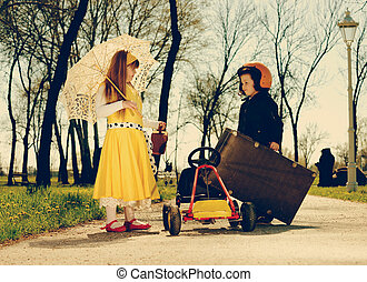retro girl hitchhiker.vintage-look