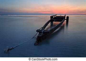 The boat trailer at Kon Ao Beach , Rayong, Thailand - The...