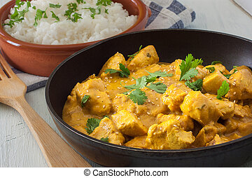 Chicken curry - Butter chicken curry with basmati rice and...