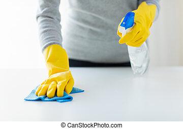 cierre, Arriba, de, mujer, limpieza, tabla, con, tela,