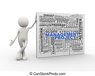 3d man standing with project management word tags wordcloud