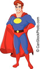 Cartoon male superhero posing - Vector illustration of...