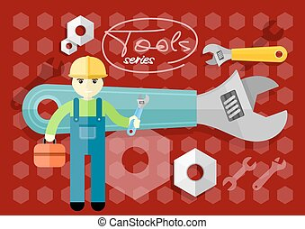 Man, person with toolbox and wrench in hands. Engineer...