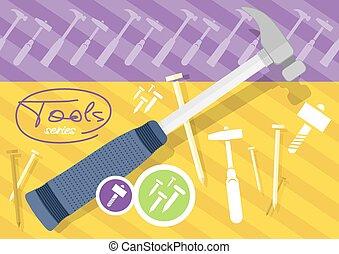 Hammer and nails, hammer, tool