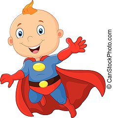 Cute baby cartoon superhero - Vector illustration of Cute...