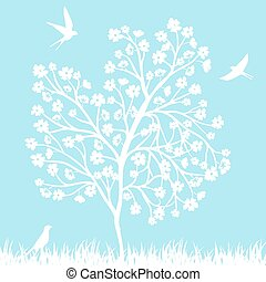 blooming tree and birds - Spring background with blooming...