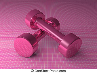 Pink glossy dumbbells - Pair of fixed-weight pink glossy...
