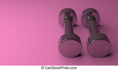Metallic dumbbells on pink - Pair of fixed-weight metallic...