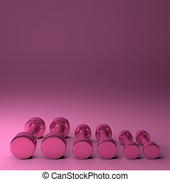 Pink glossy dumbbells - Three pairs of fixed-weight pink...