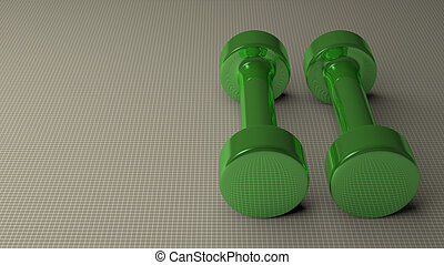 Green glossy dumbbells - Pair of fixed-weight green glossy...