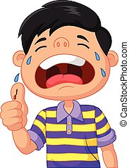 Cartoon boy crying because of a cut - Vector illustration of...