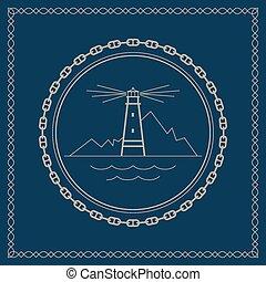 Marine emblem with lighthouse