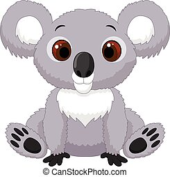 Cute cartoon koala sitting - Vector illustration of Cute...