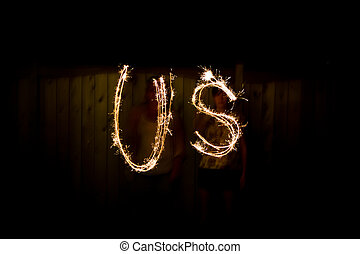 The word US in sparklers as part of Independance Day July...