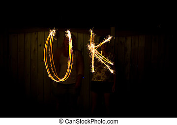 The word UK in sparklers time lapse photography
