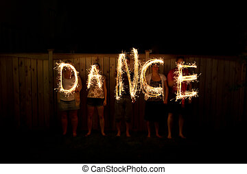 The word Party in sparklers time lapse photography