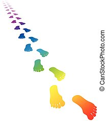 彩虹, 顏色, 足跡