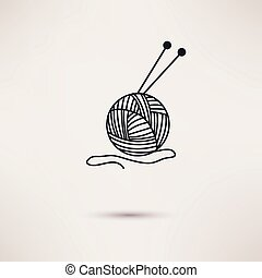 Woolen thread and needles, flat design vector. - Woolen...