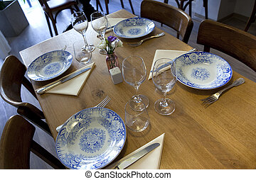 Bistro - Table set in an old French bistro