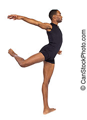 Ballet Forms - fit young black dancer balancing to show...