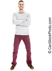 Casual handsome young man full length isolated on white...