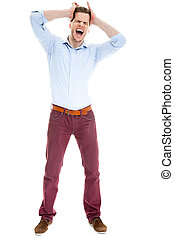 Young caucasian businessman screaming and pulling his hair, isol