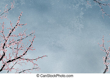 Ornamental elegant cherry tree on textured background with...