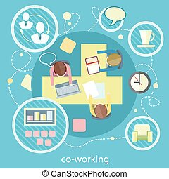 Coworking concept. Business meeting - Coworking concept....