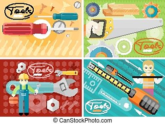 Turn-screw, saw, toolbox and wrench in hands - Standard...