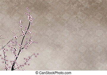 Ornamental cherry tree and chinese pattern filigree with...