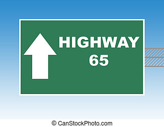 Highway 65 directional road sign, blue sky background