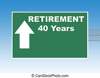 Retirement road sign - Retirement in forty years directional...
