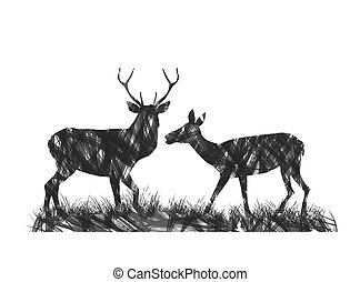 abstract deer couple