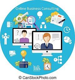顧客, 在網上, 咨詢, 服務, 概念,
