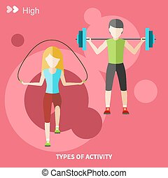 Healthy lifestyles daily routine - Types of activity High,...