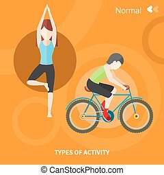 Healthy lifestyles daily routine - Types of activity. High,...