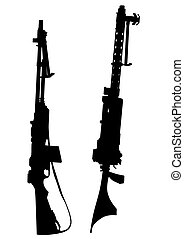 Machine gun - Modern automatic weapons on a white background