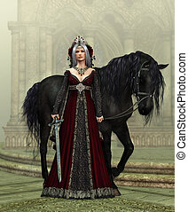 Lady of the Castle with black Horse, 3d CG - 3d computer...
