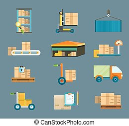 Delivery shipping concept - Set of icons warehouse...