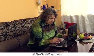 grandma use laptop - amiable grandmother slowly pushing...