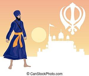 sikh festival - an illustration of a Sikh warrior standing...